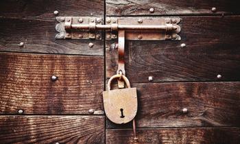 padlock and wood